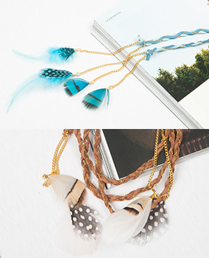 [HHS][목걸이] LONG NECKLACE GOLD COMB BROWN_2color